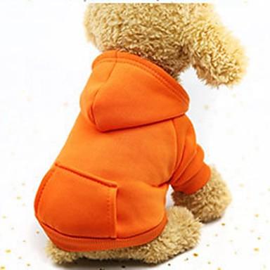 رخيصةأون ملابس وإكسسوارات الكلاب-كلاب قطط حيوانات أليفة هوديس كنزة ملابس ملابس الكلاب أرجواني برتقالي أحمر كوستيوم هاسكي لابرادور Malamute ألاسكا قطن لون سادة ستايل رياضي ضد الرياح عارضة / رياضي XS S M L XL XXL