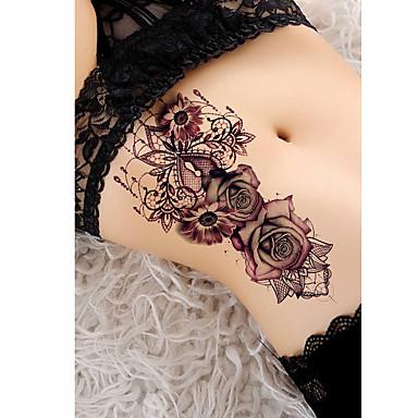 Недорогие Временные татуировки-3 шт. Временные татуировки татуировки татуировки роз тату тенденция тенденция гладкая наклейка водонепроницаемость / безопасность плеча / плечо papertattoo тела наклейки для женщин