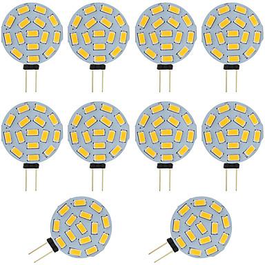 ieftine Becuri LED-10pcs 2w g4 condus bi-pin bulb rotund 15 smd 5730 dc / ac 12 - 24v cald / rece alb