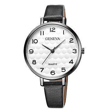 Geneva نسائي ساعة المعصم كوارتز جلد أسود / بني تصميم جديد ساعة كاجوال كوول مماثل سيدات كاجوال موضة - ذهبي بني أسود / أبيض أبيض / البيج سنة واحدة عمر البطارية