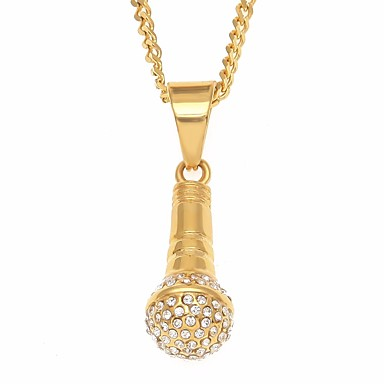 رجالي مكعب زركونيا قلائد الحلي طويل خلاق فرح شائع روك هيب هوب ستانلس ستيل ذهبي 60 cm قلادة مجوهرات 1PC من أجل شارع مناسب للعطلات