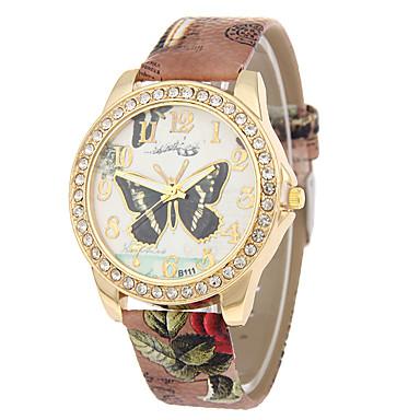 نسائي ساعة المعصم الماس ووتش كوارتز جلد اصطناعي أسود / الأبيض / أزرق ساعة كاجوال مماثل سيدات فراشة موضة - أحمر أزرق زهري