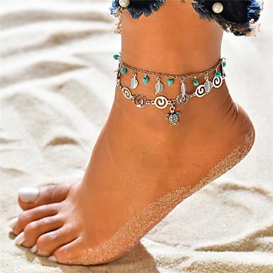 Žene Tirkiz Kratka čarapa Gležanj Narukvica Više slojeva Leaf Shape Kornjača dame Stil višenja Boemski stil Kratka čarapa Jewelry Pink Za Praznik Bikini