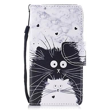 זול כיסויים לסדרת גלאקסי J-מגן עבור Samsung Galaxy J3 (2017) ארנק / מחזיק כרטיסים / נפתח-נסגר כיסוי מלא חתול קשיח עור PU