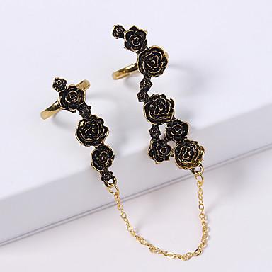 نسائي خاتم بأصابيع متعددة 2pcs ذهبي فضي سبيكة سيدات عتيق أوروبي مناسب للبس اليومي مجوهرات أشكال النحت وردة