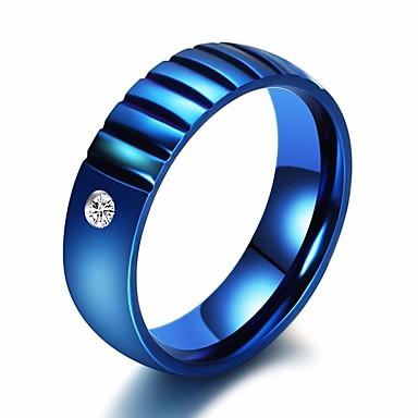 الزوجين خاتم مكعب زركونيا 1PC أزرق حجر الراين الصلب التيتانيوم دائري سيدات فني كلاسيكي هدية مواعدة مجوهرات كلاسيكي سوليتير خلاق ثمين كوول