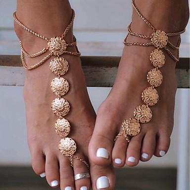 رخيصةأون مجوهرات الجسم-نسائي Barfotsandaler مجوهرات القدمين وردة سيدات عتيق خلخال مجوهرات ذهبي / فضي من أجل مناسب للبس اليومي فضفاض الرياضة أزياء Cosplay