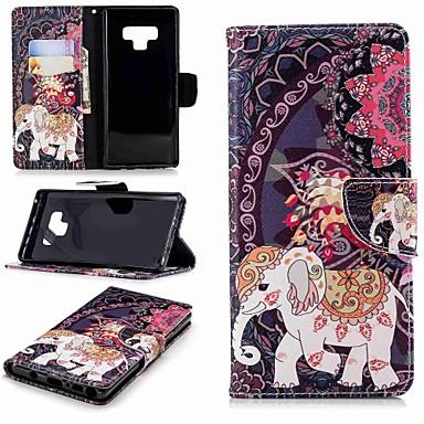 voordelige Galaxy Note-serie hoesjes / covers-hoesje Voor Samsung Galaxy Note 9 / Note 8 Portemonnee / Kaarthouder / met standaard Volledig hoesje Olifant Hard PU-nahka