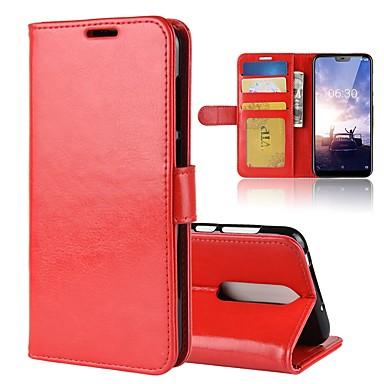 Недорогие Чехлы и кейсы для Nokia-Кейс для Назначение Nokia Nokia 8 / 8 Sirocco / Nokia 7 Кошелек / Бумажник для карт / Флип Чехол Однотонный Твердый Кожа PU