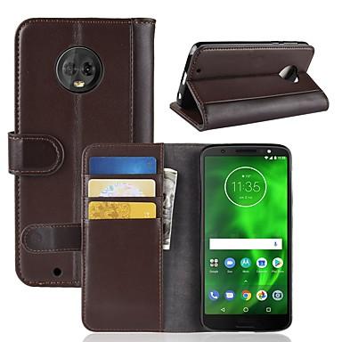 Недорогие Чехлы и кейсы для Motorola-Кейс для Назначение Motorola Moto Z2 play / Moto X4 / MOTO G6 Кошелек / Бумажник для карт / Флип Чехол Однотонный Твердый Настоящая кожа