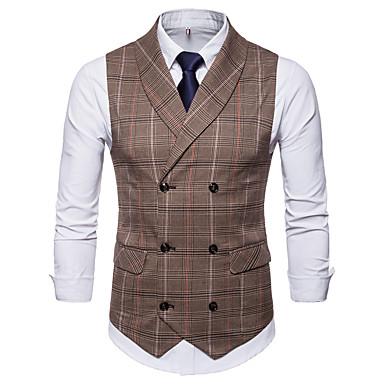 رجالي مناسب للبس اليومي أساسي الخريف / الشتاء عادية Vest, منقوشة / متقلب V رقبة بدون كم سباندكس بني / رمادي