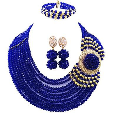 نسائي متعدد الطبقات مجموعة مجوهرات النمسا، البلورة MOON سيدات, موضة تتضمن قلادة السواحل أزرق / زهري / بني فاتح من أجل زفاف / أقراط