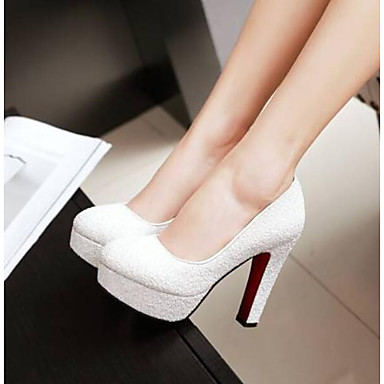 Недорогие Женская обувь на каблуках-Жен. Обувь на каблуках На толстом каблуке Закрытый мыс Полиуретан Удобная обувь Лето Белый / Синий / Розовый / Повседневные / EU41