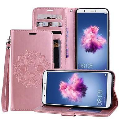 رخيصةأون Huawei أغطية / كفرات-غطاء من أجل Huawei Huawei P smart / Huawei Enjoy 7S حامل البطاقات / مع حامل / قلب غطاء كامل للجسم ماندالا نمط قاسي جلد PU