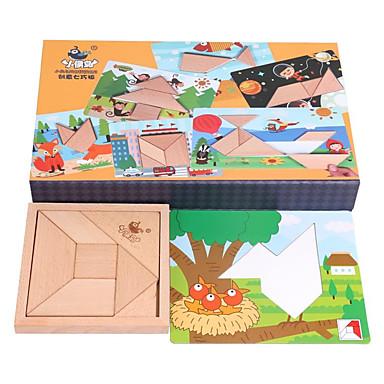 olcso 3D Puzzle-Tangram Fejtörő Fából készült építőjátékok Kreatív geometrikus minta Fa / Bambusz 50 pcs Gyermek Gyerekek Összes Játékok Ajándék