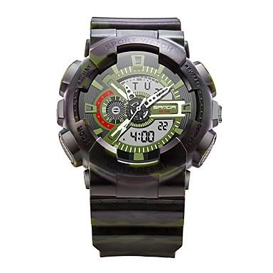 SANDA رجالي ساعة رياضية ساعة رقمية ياباني رقمي فضة / أحمر / رمادي 30 m مقاوم للماء رزنامه ساعة التوقف تناظري-رقمي ترف موضة - أحمر ذهبي التمويه الخضراء / قضية