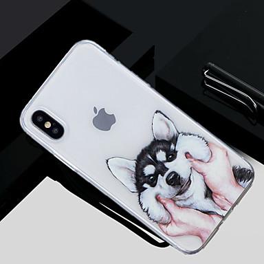 Недорогие Кейсы для iPhone 6-Кейс для Назначение Apple iPhone X / iPhone 8 Pluss / iPhone 8 С узором Кейс на заднюю панель С собакой Мягкий ТПУ
