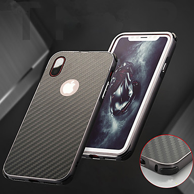 voordelige iPhone X hoesjes-hoesje Voor Apple iPhone X / iPhone 8 Plus / iPhone 8 Schokbestendig / Beplating Achterkant Effen Hard Aluminium