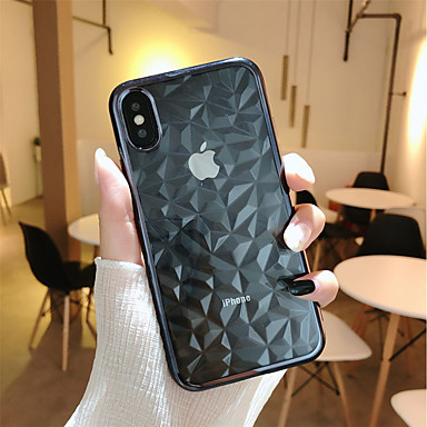 voordelige iPhone-hoesjes-hoesje Voor Apple iPhone X / iPhone 8 Plus / iPhone 8 Beplating / Transparant Achterkant Geometrisch patroon Zacht TPU