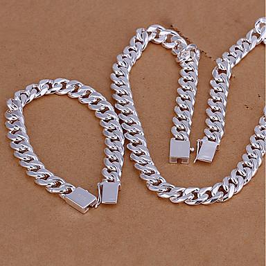 رخيصةأون مجموعة مجوهرات الفضة-رجالي عقد ستايل سلسلة مربع خلاق سيدات موضة أنيق S925 فضة الأقراط مجوهرات فضي من أجل هدية مناسب للبس اليومي
