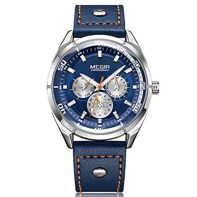 271b5714acbd MEGIR Hombre Reloj Deportivo Japonés Cuarzo Cuero Auténtico Negro   Azul 30  m Resistente al Agua Calendario Cronógrafo Analógico Lujo Moda - Negro Azul  ...