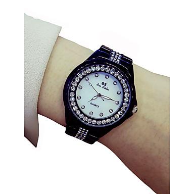 نسائي ساعة المعصم كوارتز أسود الكرونوغراف مضيء ساعة كاجوال مماثل سيدات مضيئ موضة - أسود / تقليد الماس