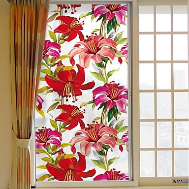 فيلم نافذة وملصقات زخرفة زهري ورد PVC إبداعي