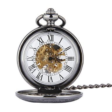 رجالي ساعة جيب داخل الساعة أتوماتيك أسود نقش جوفاء ساعة كاجوال جمجمة مماثل جمجمة موضة Steampunk أرسطو - أسود
