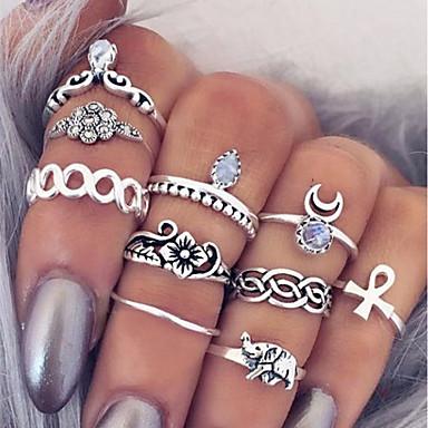 povoljno Prstenje-Žene Prstenasti set Midi prstenje Prstenovi koji se mogu slagati 10pcs Srebro Legura Circle Shape dame Jednostavan Jedinstven dizajn Dnevno Spoj Jewelry Više slojeva Kereszt Cvijet Slatko