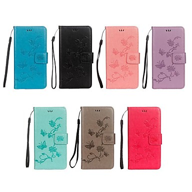 cheap Motorola Case-Case For Motorola Moto G5s Plus / Moto G5s / Moto G5 Plus Wallet / Card Holder / with Stand Full Body Cases Butterfly / Flower Hard PU Leather