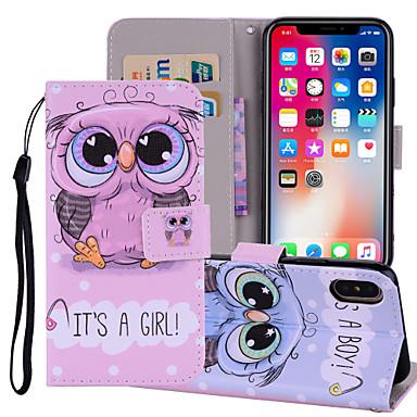 غطاء من أجل Apple iPhone X / iPhone 8 Plus / iPhone 8 محفظة / حامل البطاقات / مع حامل غطاء كامل للجسم حيوان / بوم قاسي جلد PU