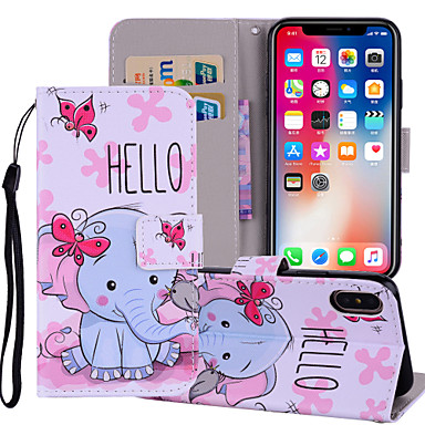 Недорогие Кейсы для iPhone 6-Кейс для Назначение Apple iPhone X / iPhone 8 Pluss / iPhone 8 Кошелек / Бумажник для карт / со стендом Чехол Животное / Слон Твердый Кожа PU