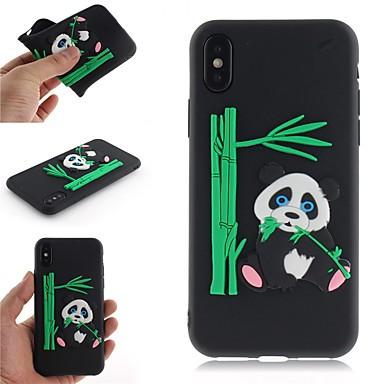 Недорогие Кейсы для iPhone 6-Кейс для Назначение Apple iPhone X / iPhone 8 Pluss / iPhone 8 С узором Кейс на заднюю панель Мультипликация / 3D в мультяшном стиле / Панда Мягкий ТПУ