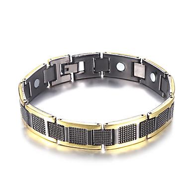 voordelige Heren Armband-Heren Hologramarmband Armband Nugget Link-armband Stijlvol Tweekleurig Creatief modieus Casual / Sporty Modieus Koper Armband sieraden Zwart / Zilver Voor Verjaardag Lahja