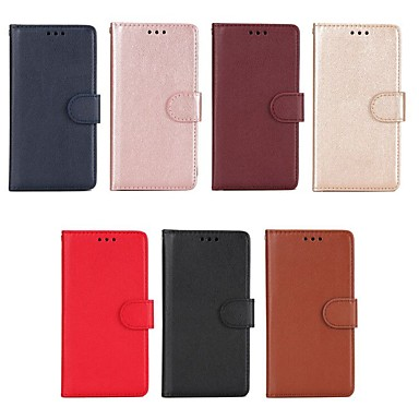 Недорогие Чехлы и кейсы для Xiaomi-Кейс для Назначение Xiaomi Redmi Note 5A / Xiaomi Redmi Note 4X / Xiaomi Redmi Note 4 Кошелек / Бумажник для карт / со стендом Чехол Однотонный Твердый Кожа PU
