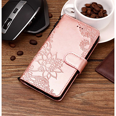Недорогие Кейсы для iPhone 7 Plus-Кейс для Назначение Apple iPhone X / iPhone 8 Pluss / iPhone 8 Кошелек / Бумажник для карт / со стендом Чехол Мультипликация / Кружева Печать / Цветы Твердый Кожа PU