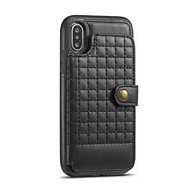 Недорогие Кейсы для iPhone 7-Кейс для Назначение Apple iPhone X / iPhone 8 Pluss / iPhone 8 Бумажник для карт / Защита от удара / со стендом Кейс на заднюю панель Однотонный Твердый ПК