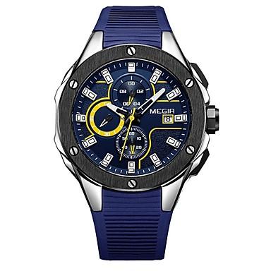 MEGIR رجالي ساعة رياضية ياباني كوارتز سيليكون أسود / مسبح 30 m مقاوم للماء رزنامه الكرونوغراف مماثل موضة - أسود فضي أزرق / قضية