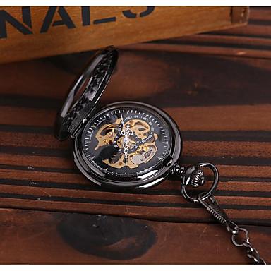 رخيصةأون ساعات الرجال-رجالي ساعة الهيكل ساعة جيب داخل الساعة أتوماتيك أسود نقش جوفاء ساعة كاجوال مماثل ترف كاجوال جمجمة Steampunk - أسود