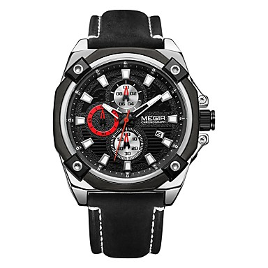 MEGIR رجالي ساعة رياضية ياباني كوارتز جلد طبيعي أسود 30 m مقاوم للماء رزنامه الكرونوغراف مماثل كاجوال موضة - أسود فضي / قضية