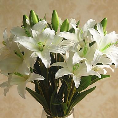 زهور اصطناعية 1 فرع كلاسيكي فردي أنيق النمط الرعوي الزنابق أزهار الطاولة