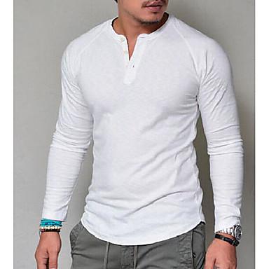 T-shirt Męskie Podstawowy W serek Solidne kolory Biały / Długi rękaw