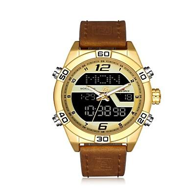voordelige Lederen Horloge-NAVIFORCE Voor heren Sporthorloge Militair horloge Digitaal horloge Japanse quartz Luxe Waterbestendig Analoog-Digitaal Goud Rose Zwart Zwart / Bruin / Een jaar / Echt leer / Alarm / Kalender