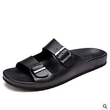 Недорогие Мужские сандалии-Муж. Комфортная обувь Кожа Лето Сандалии Черный / Темно-коричневый / на открытом воздухе