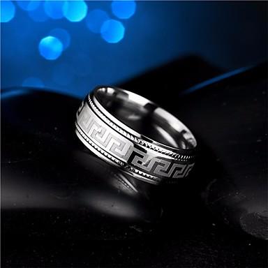 رجالي خاتم 1PC فضي الصلب التيتانيوم Circle Shape بسيط روك موضة زفاف حفلة تنكرية مجوهرات ستايل سلسلة الطوطم كوول