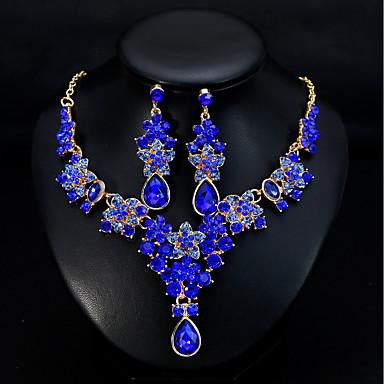 povoljno Komplet nakita-Žene Viseće naušnice Ogrlica Klasičan Stilski Europska Elegantno Naušnice Jewelry Zelen / Plava / Tamno crvena Za Vjenčanje Dnevno