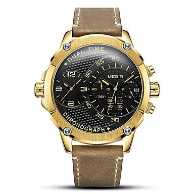 Недорогие Часы на кожаном ремешке-MEGIR Муж. Спортивные часы Кварцевый На каждый день Защита от влаги Аналоговый Золотистый Черный Серебряный / Натуральная кожа / Японский / Календарь / Секундомер / С двумя часовыми поясами