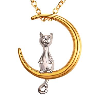 نسائي قلائد الحلي ستايل MOON خلاق الهلال سيدات رومانسي موضة الفولاذ المقاوم للصدأ ذهبي 55 cm قلادة مجوهرات 1PC من أجل هدية مناسب للبس اليومي
