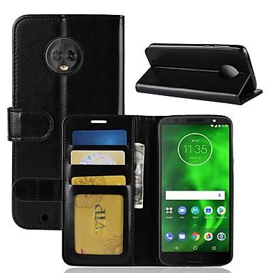 Недорогие Чехлы и кейсы для Motorola-Кейс для Назначение Motorola Moto X4 / MOTO G6 / Moto G6 Play Кошелек / Бумажник для карт / Флип Чехол Однотонный Твердый Кожа PU