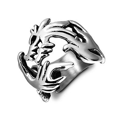 رجالي خاتم 1PC فضي الصلب التيتانيوم أنيق كلاسيكي مناسب للبس اليومي مجوهرات فراغ خارجي تنين